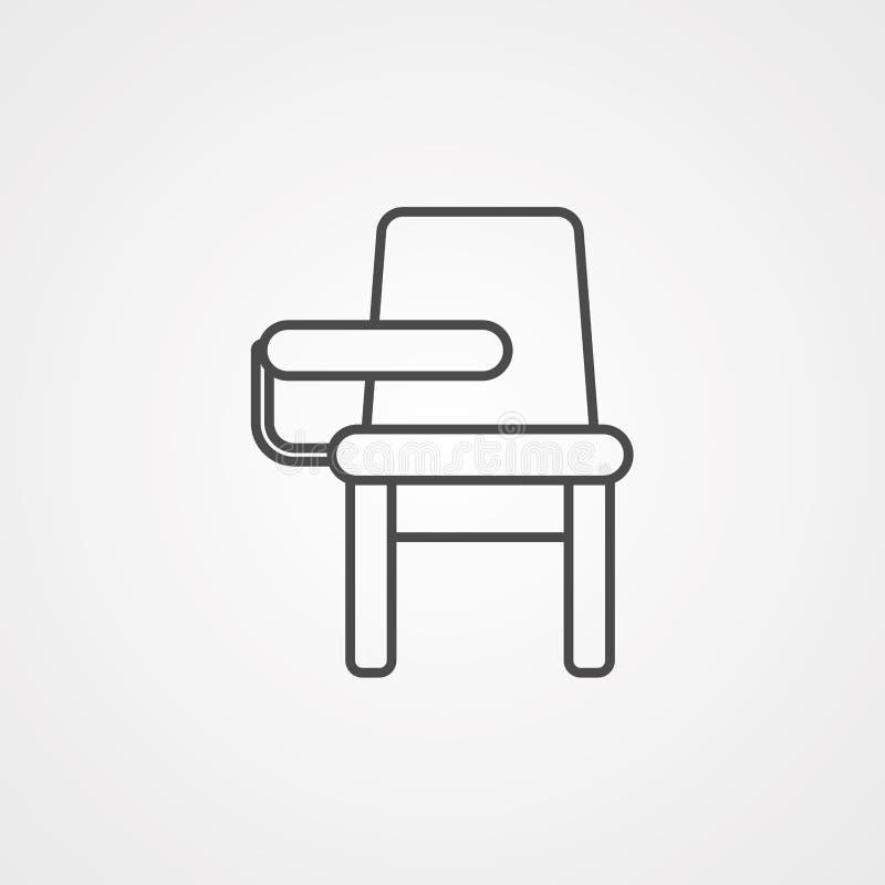 Símbolo do sinal do ícone do vetor da cadeira de mesa ilustração do vetor