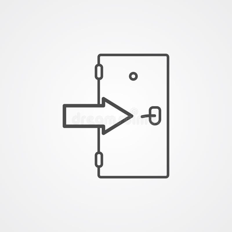 Símbolo do sinal do ícone do vetor da porta de saída ilustração royalty free