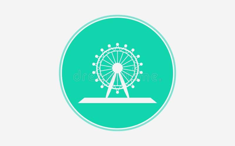 Símbolo do sinal do ícone do vetor da roda de Ferris ilustração do vetor