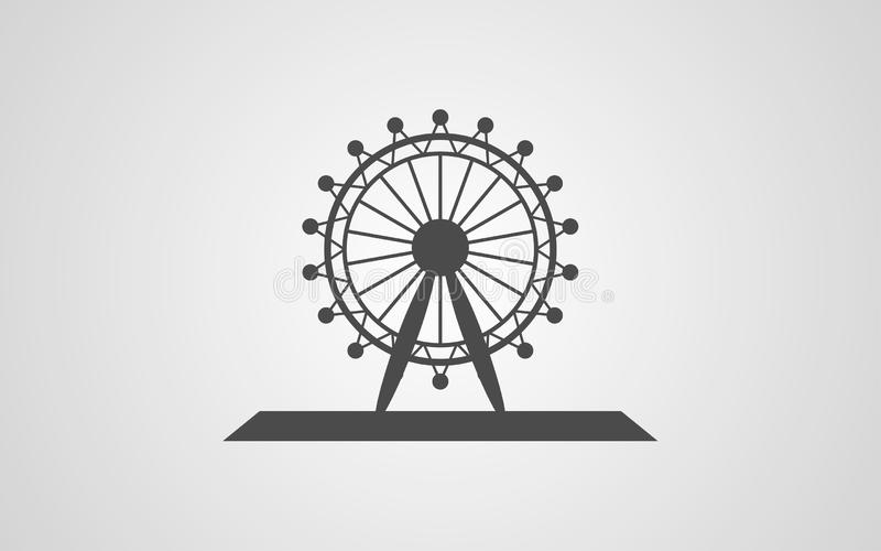 Símbolo do sinal do ícone do vetor da roda de Ferris ilustração stock