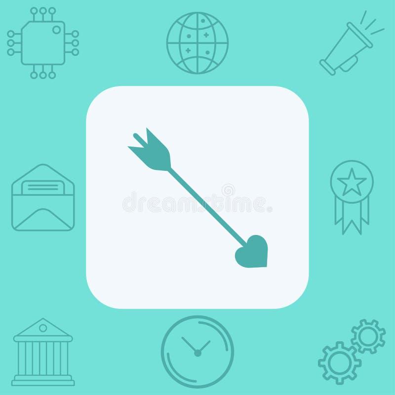 Símbolo do sinal do ícone do vetor da seta de amor ilustração do vetor