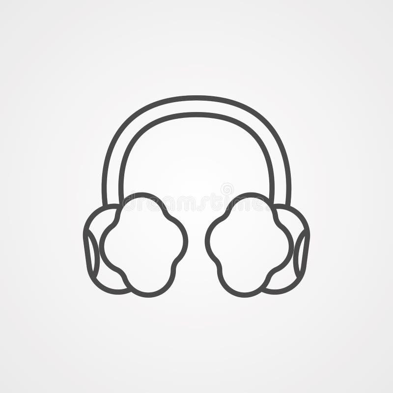 Símbolo do sinal do ícone do vetor das capas protetoras para as orelhas ilustração stock