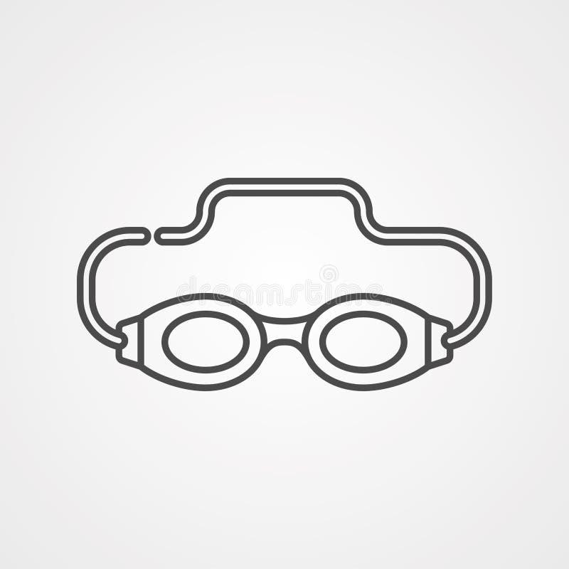 Símbolo do sinal do ícone do vetor dos óculos de proteção da natação ilustração do vetor
