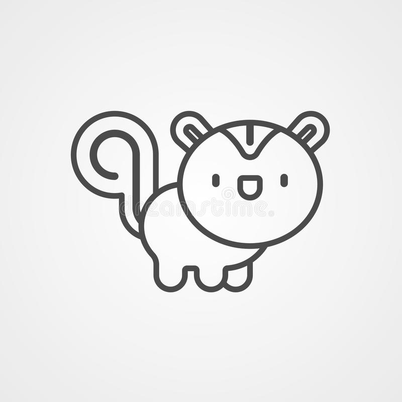 Símbolo do sinal do ícone do vetor do esquilo ilustração stock