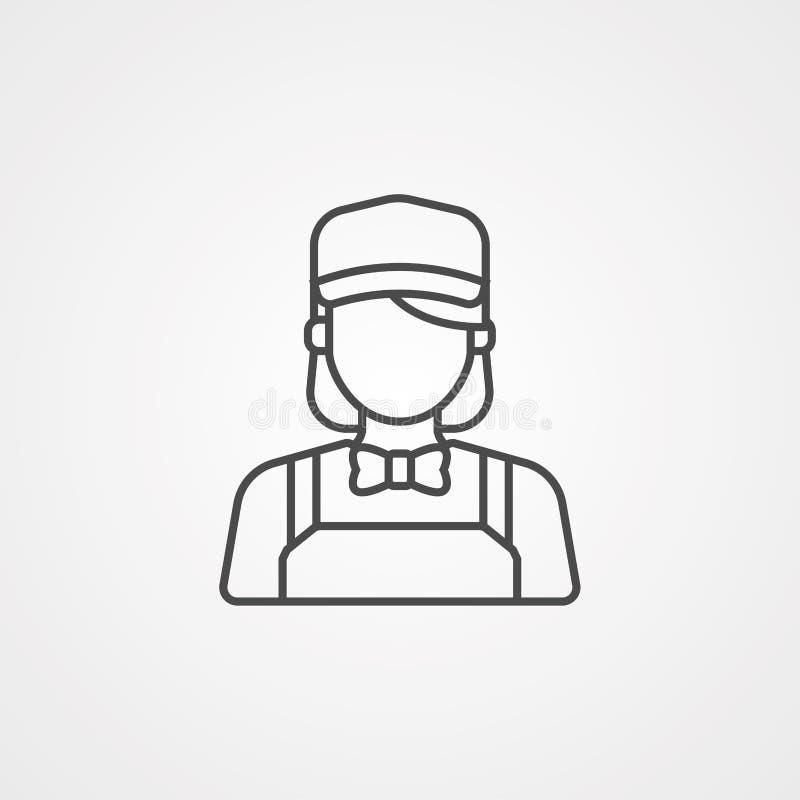 Símbolo do sinal do ícone do vetor do garçom ilustração do vetor