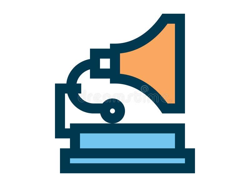 Símbolo do sinal do ícone do vetor do gramofone ilustração royalty free