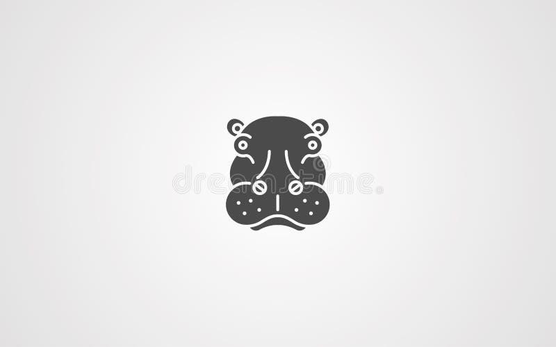 Símbolo do sinal do ícone do vetor do hipopótamo ilustração stock