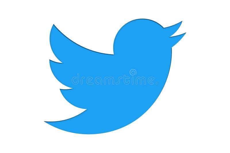 Símbolo do sinal da marca do logotipo de Twitter no projeto minimalista como claro - a cor azul cortou isolado no fundo branco ilustração do vetor