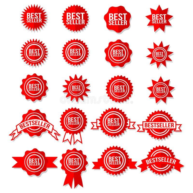 Símbolo do sinal do melhor vendedor - etiquetas ajustadas das estrelas do ícone vermelho da concessão do bestseller ilustração stock