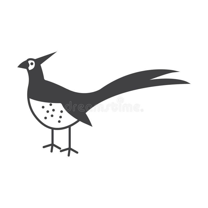 Símbolo do sinal do vetor do pássaro do faisão Ilustra??o do fais?o ilustração do vetor
