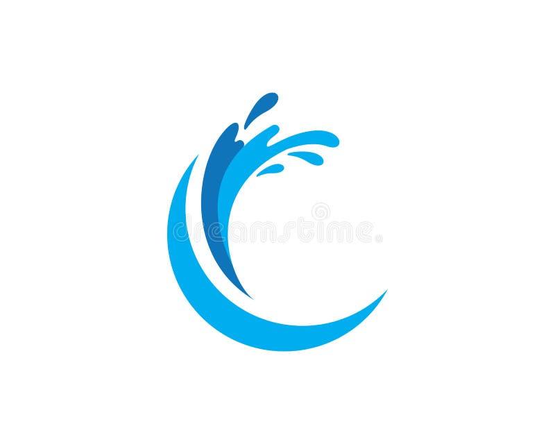 Símbolo do spash da onda de água e ícone Logo Template ilustração stock