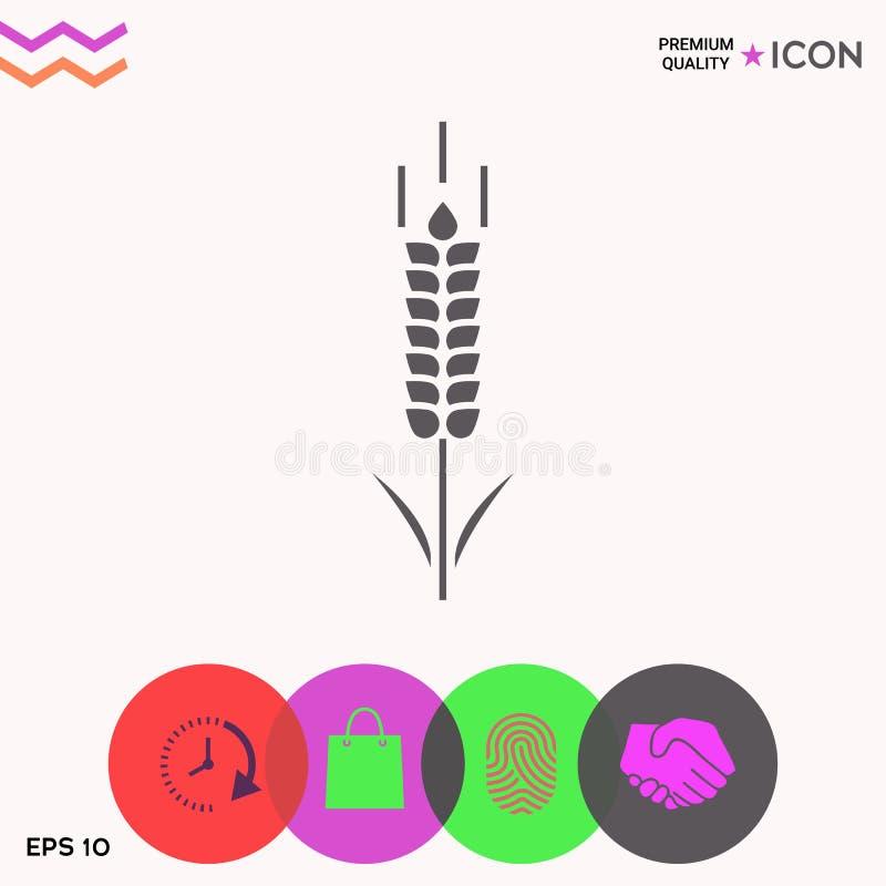 Símbolo do spikelet do trigo ou do centeio ilustração stock
