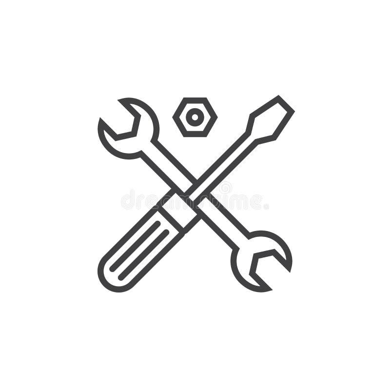 Símbolo do suporte laboral Linha ícone das ferramentas, sinal do vetor do esboço,