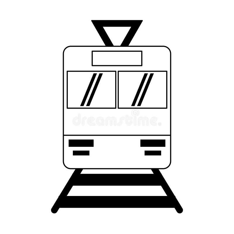 Símbolo do transporte público de Tranvia em preto e branco ilustração royalty free