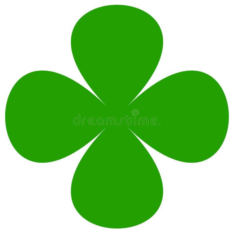 Símbolo do trevo de quatro folhas Ícone liso simples para a sorte, conceito afortunado ilustração royalty free