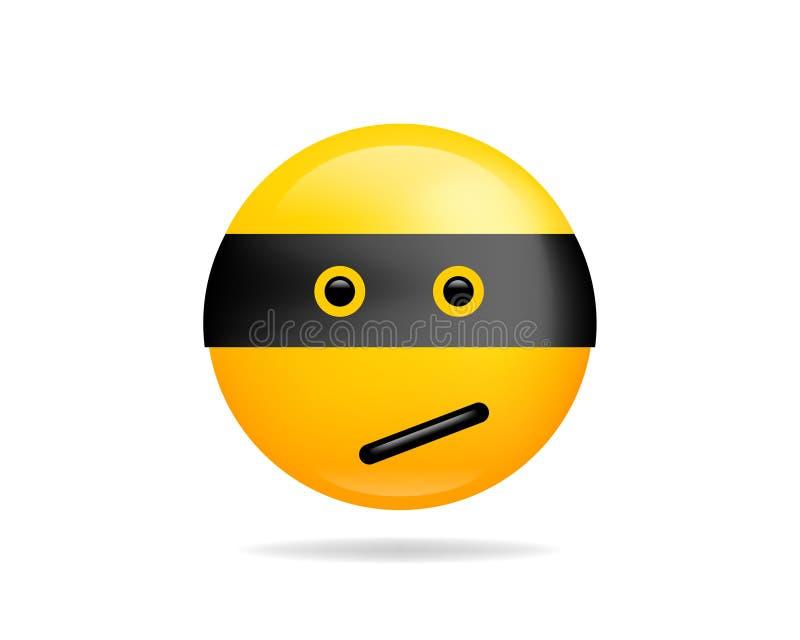 Símbolo do vetor do ícone do sorriso de Emoji Ninja Smiley enfrenta o personagem de banda desenhada amarelo ilustração do vetor