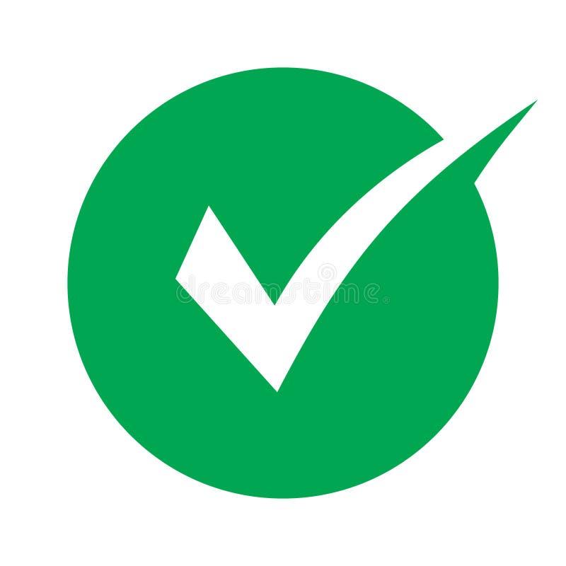 Símbolo do vetor do ícone do tiquetaque, sinal verde isolado no fundo branco, ícone verificado ou sinal correto da escolha na for ilustração do vetor