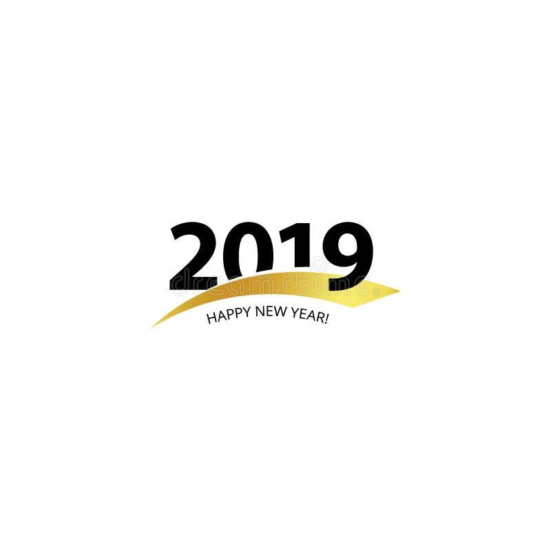 símbolo 2019 do vetor com relevo dourado Logotipo incorporado do vetor do evento do Natal no fundo branco vetores ilustração do vetor