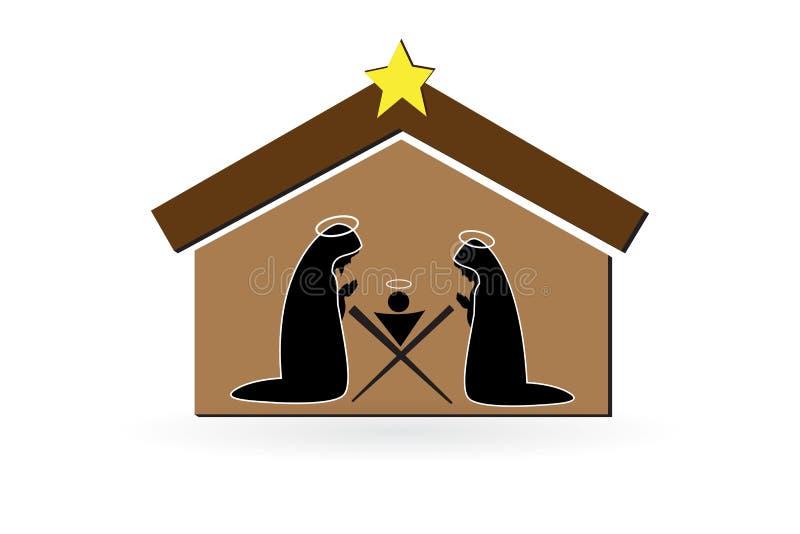 Símbolo do vetor da cena da natividade do Natal ilustração royalty free