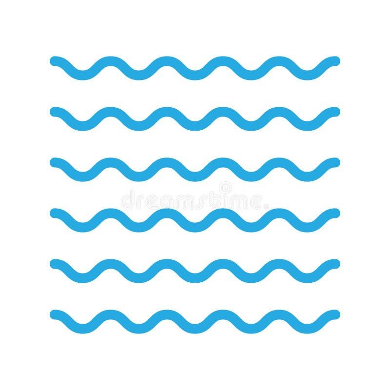S?mbolo do vetor de onda da ?gua, da ilustra??o da ?gua do rio, do elemento da natureza, do oceano ou do mar ilustração royalty free