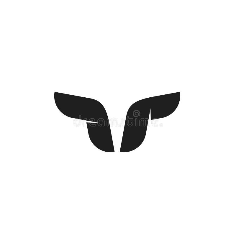 Símbolo do vetor do logotipo de Bull, chifres do búfalo, forma geométrica da cabeça do taurus ilustração do vetor