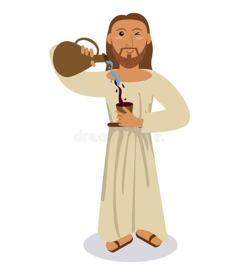 Símbolo do vinho da água do conviert de Jesus christ ilustração royalty free