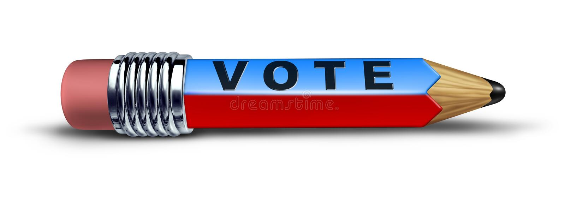 Símbolo do voto representado por um lápis ilustração royalty free