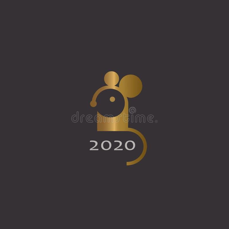 Símbolo dorado del ratón de 2020 en el fondo negro. Tarjeta de saludo de Año Nuevo zodiaco animal chino. Diseño del logotipo d ilustración del vector