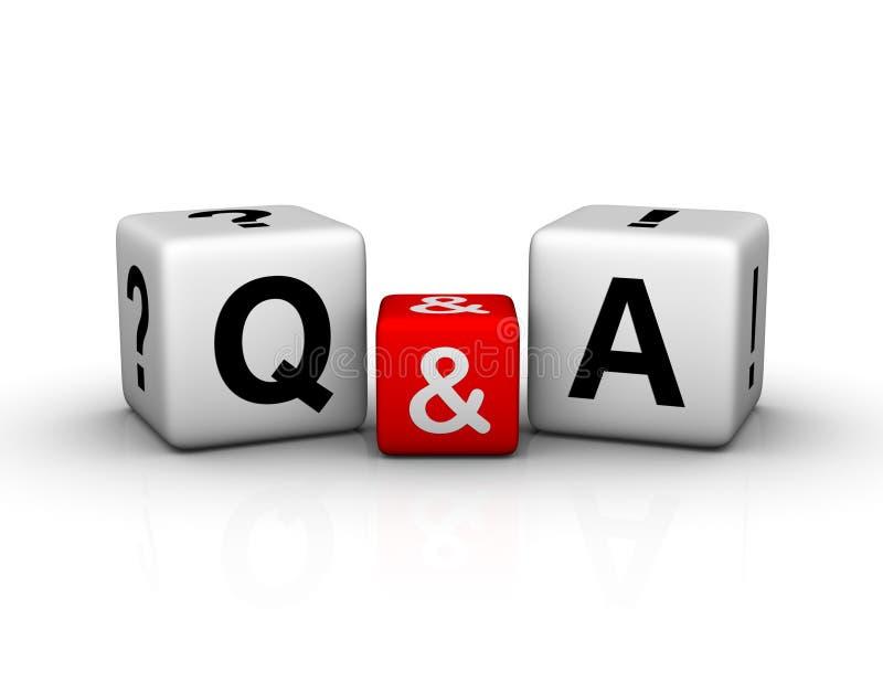 Símbolo dos cubos da pergunta e das respostas ilustração stock