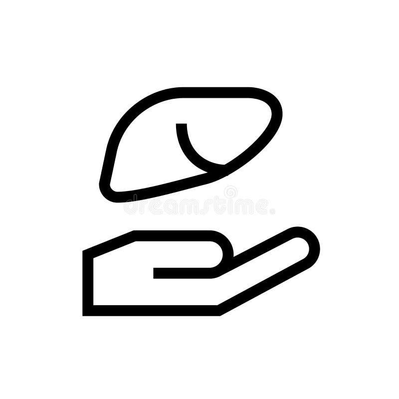 Símbolo dos cuidados comunitários da transplantação de órgão do corpo do projeto do ícone da doação do fígado linha ilustração mé ilustração stock