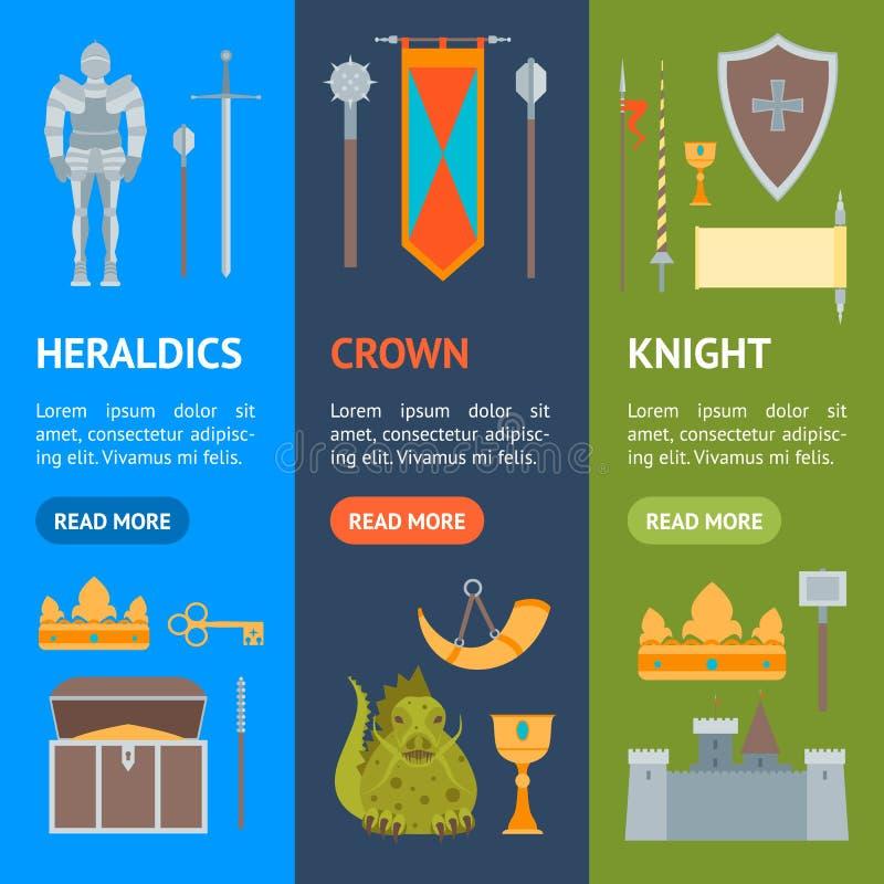 Símbolo dos desenhos animados do grupo medieval de Vecrtical da bandeira Vetor ilustração stock