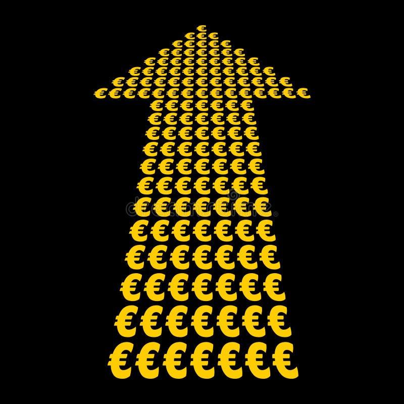 Símbolo dos euro acima da seta ilustração do vetor