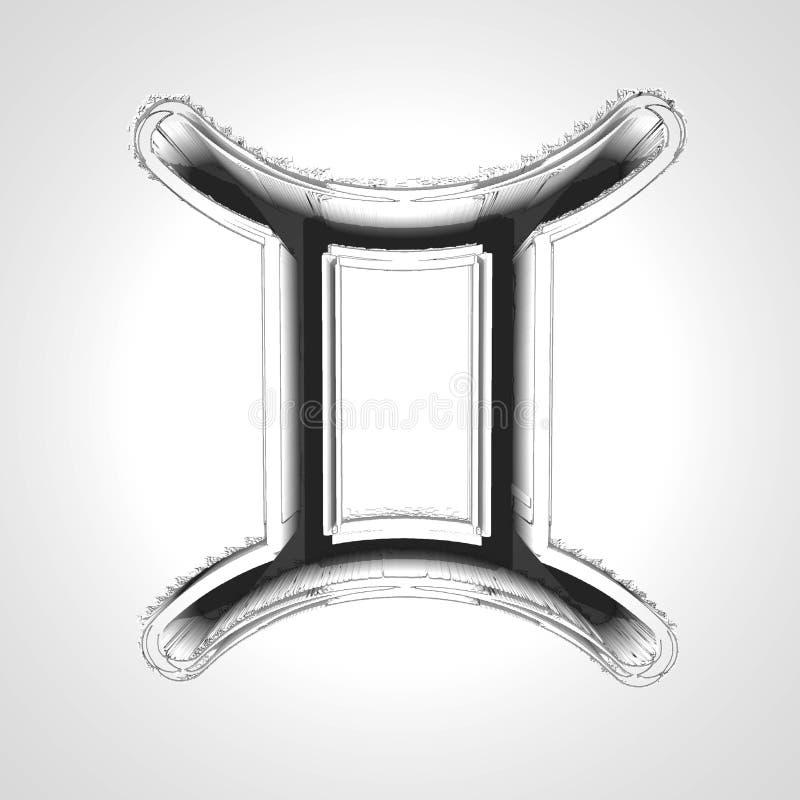 Símbolo dos Gêmeos 3d ilustração stock