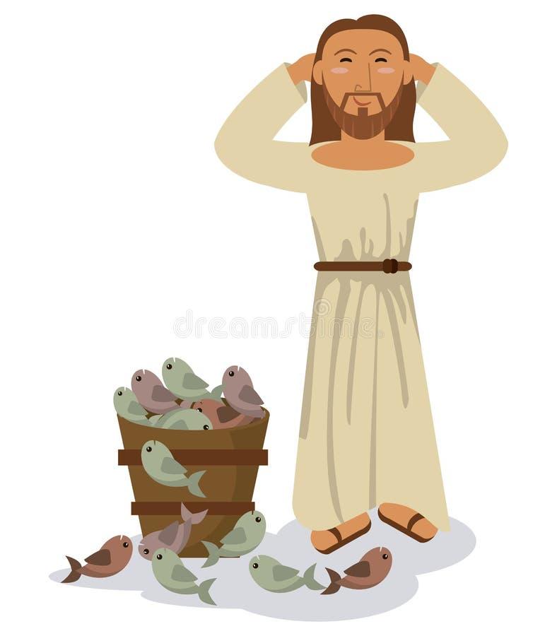 Símbolo dos peixes da multiplicação do milagre de Jesus christ ilustração do vetor