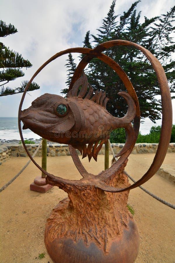 Símbolo dos peixes do ` s de Neruda Museu da casa do de Isla Negra da casa de Pablo Neruda Isla Negra chile imagens de stock royalty free