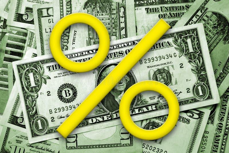 Símbolo dos por cento no backgound do dinheiro ilustração royalty free