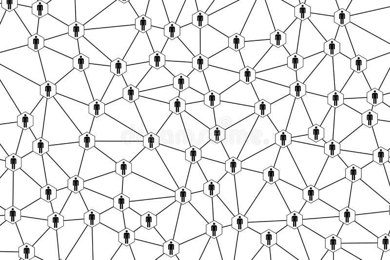 Símbolo dos povos e conexão de rede no fundo branco no conceito da comunidade da informática dos meios sociais e digital ilustração royalty free