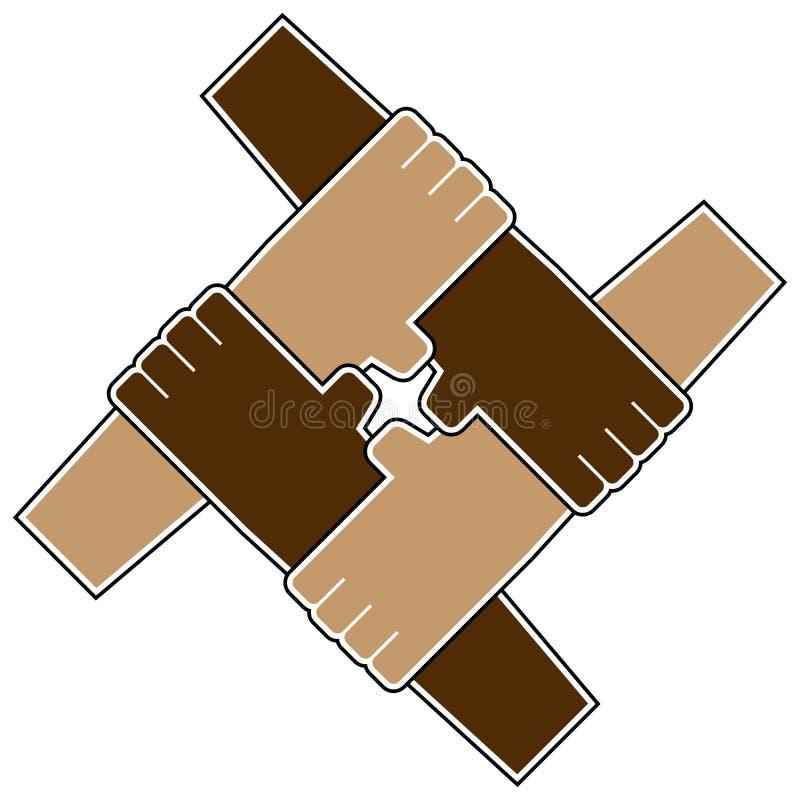 Símbolo dos trabalhos de equipa de quatro mãos ilustração royalty free