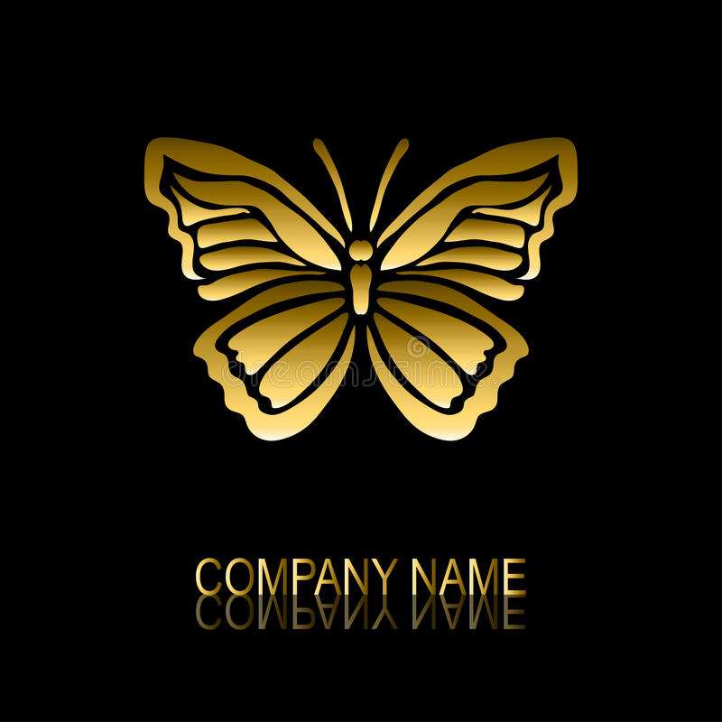 Símbolo dourado da borboleta ilustração stock