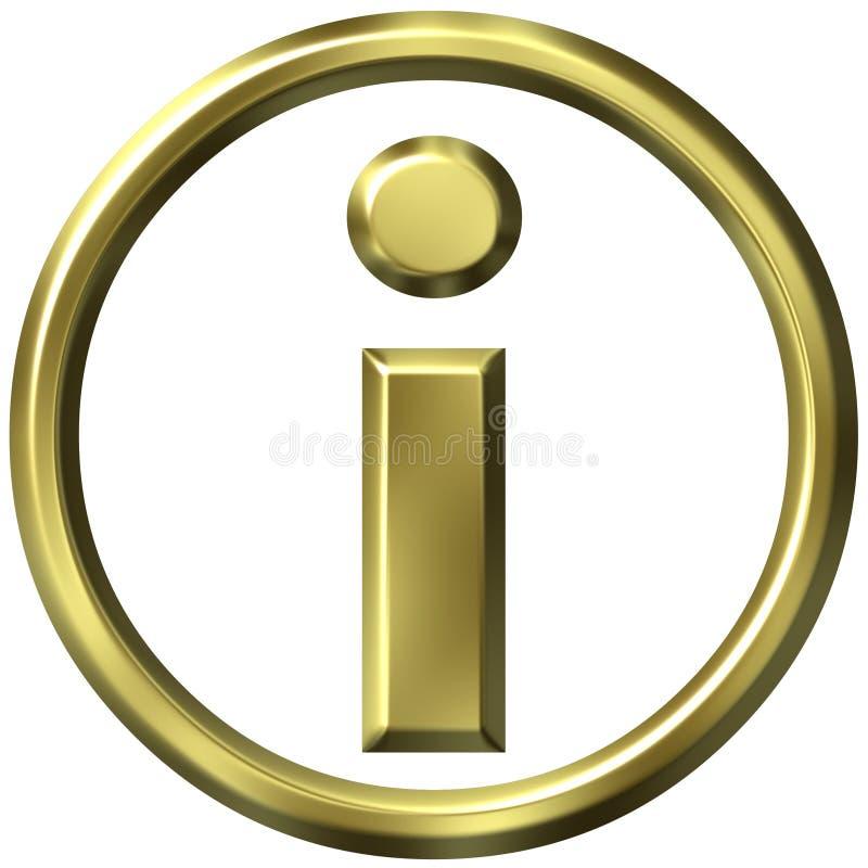 símbolo dourado da informação 3D ilustração do vetor