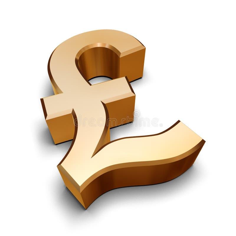 símbolo dourado da libra 3D