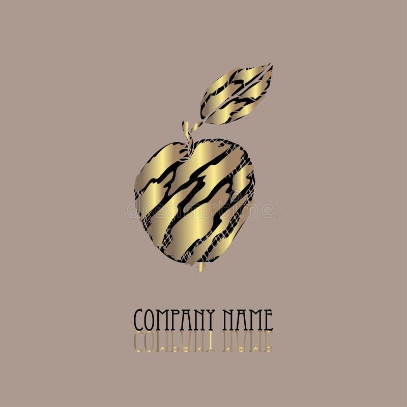 Símbolo dourado da maçã ilustração do vetor