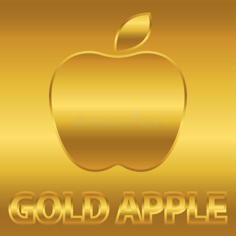 Símbolo dourado da maçã com texto do ouro ilustração royalty free