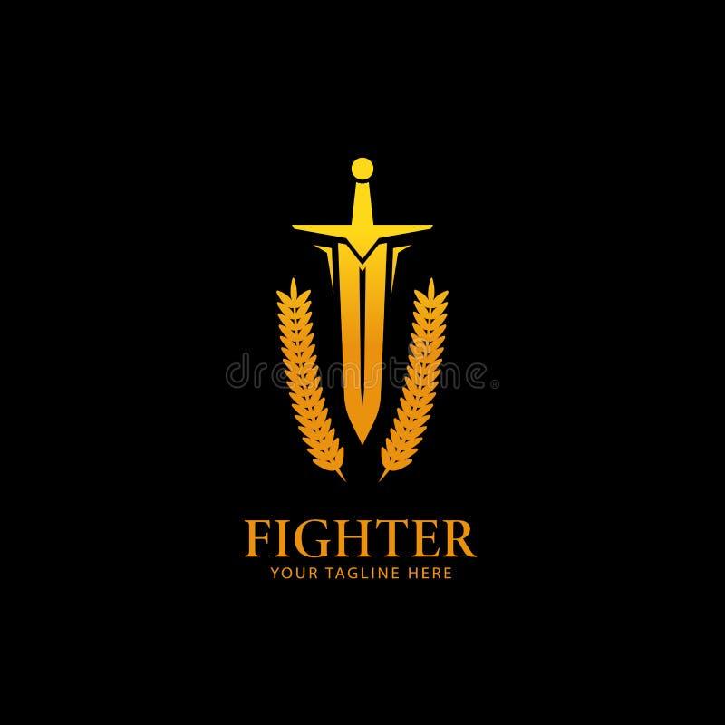 Símbolo dourado do ícone do logotipo da espada do lutador do cavaleiro do guerreiro da cor do ouro com grinalda do louro ilustração do vetor