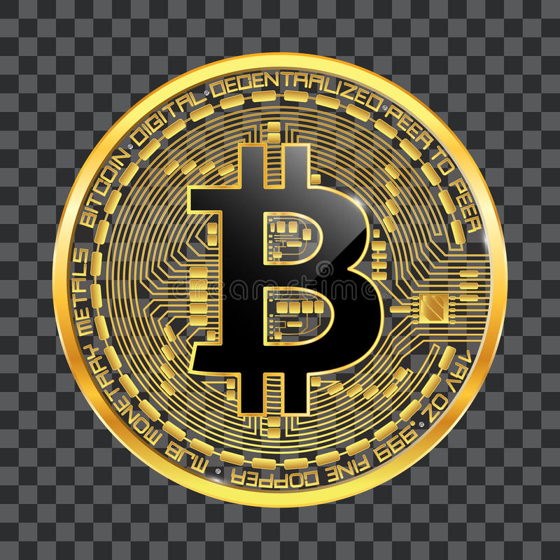 Símbolo dourado do bitcoin cripto da moeda fotografia de stock