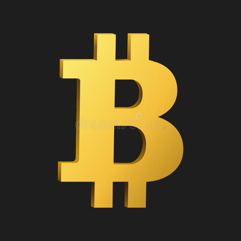 Símbolo dourado do bitcoin isolado no fundo preto ilustração do vetor