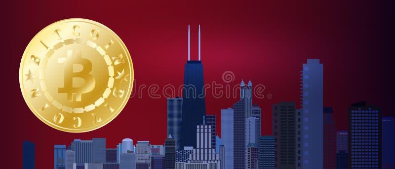 Símbolo dourado do bitcoin no céu da cidade do vermelho azul da noite Bitcoin e conceito da tecnologia do blockchain Rede de Bitc ilustração stock
