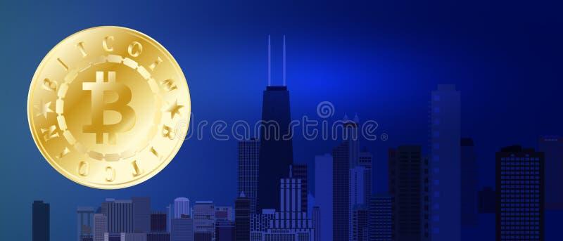 Símbolo dourado do bitcoin no fundo azul da cidade da noite Bitcoin e conceito da tecnologia do blockchain Rede de Bitcoin com ilustração royalty free
