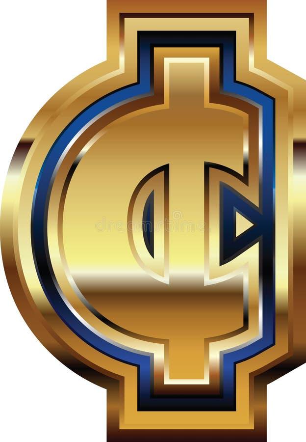 Símbolo dourado do centavo ilustração royalty free
