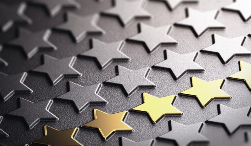 Símbolo dourado do fundo das estrelas da excelência ilustração do vetor